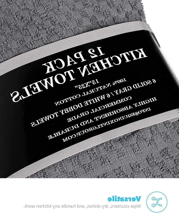 Zeppoli Kitchen Towels, 12 Pack 100% Soft Cotton -