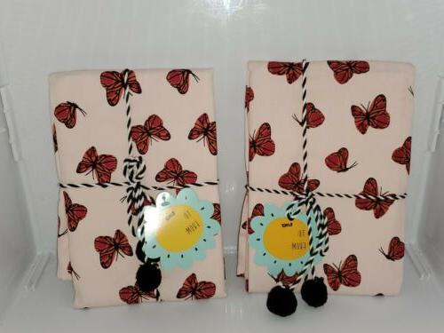 kitchen towels 18 x 26 butterflies lot
