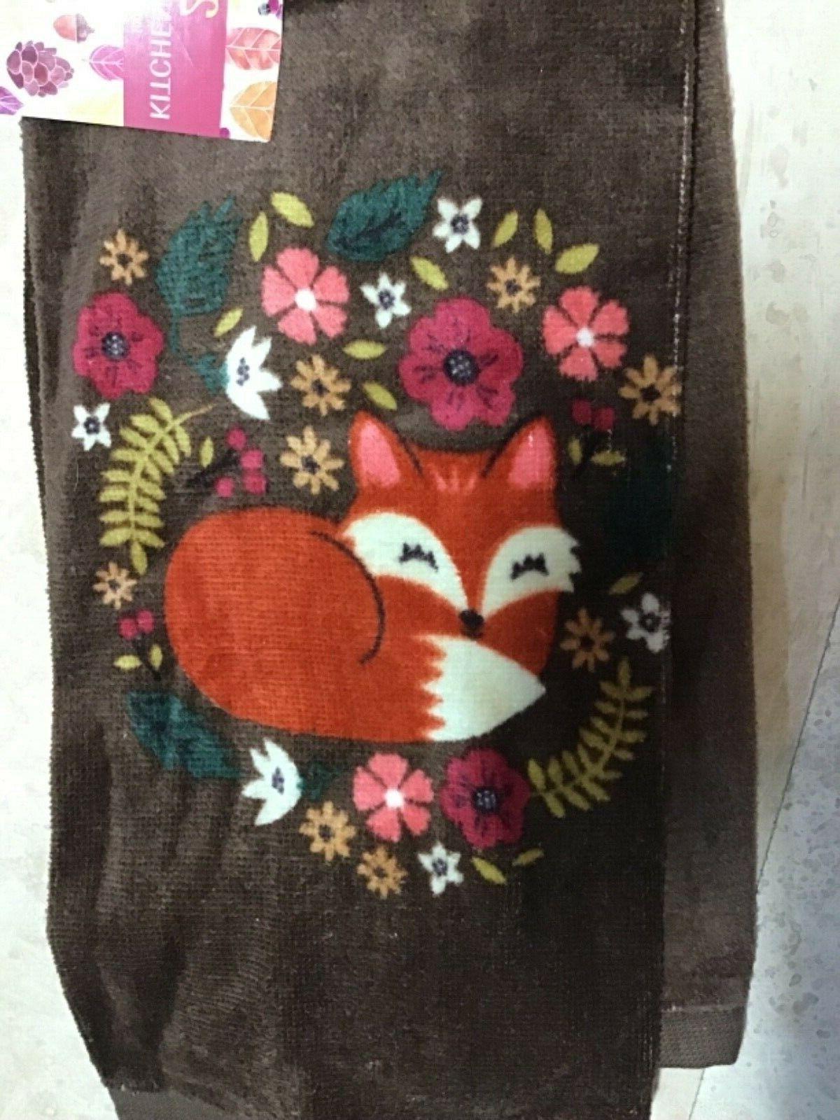 kitchen towels 2 autumn bouquet fox brown