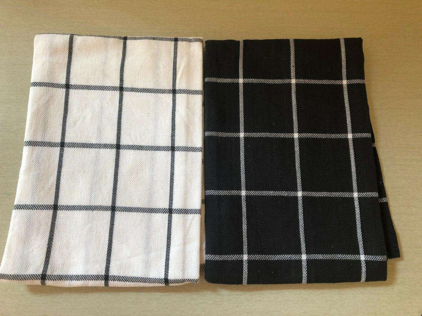 kitchen towels 2 black white windowpane cotton