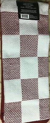 kitchen towels 2 crimson red checkerboard cotton