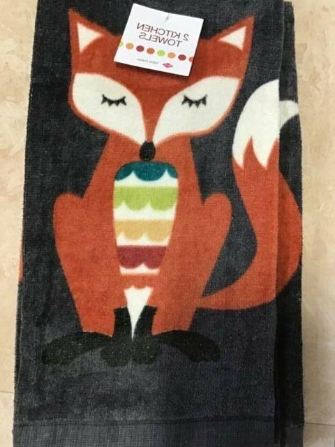kitchen towels 2 fox gray orange 100