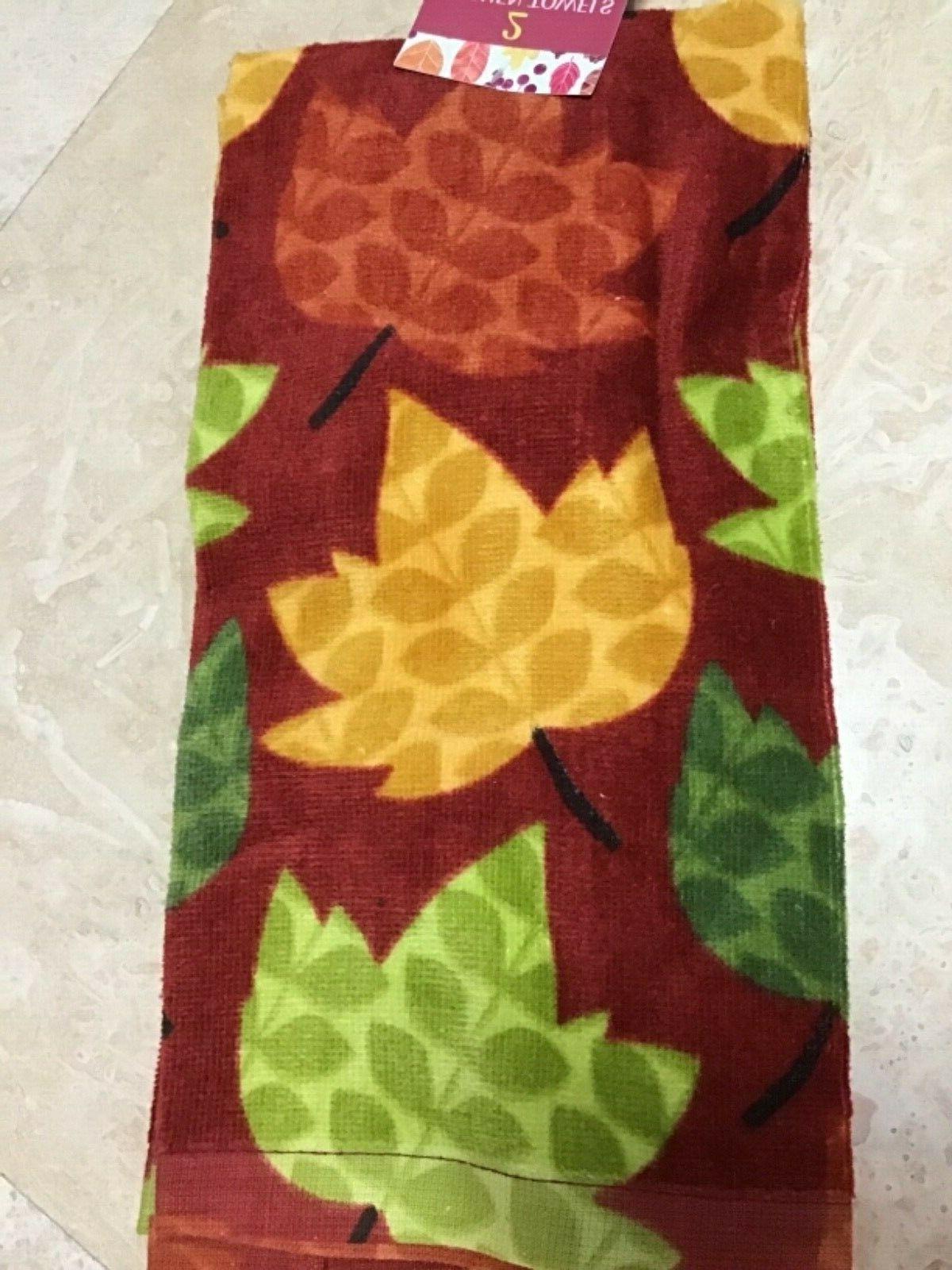 kitchen towels 2 mod leaves 100 percent