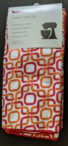 Kitchenaid Kitchen Towels 3 pack Red orange polyester
