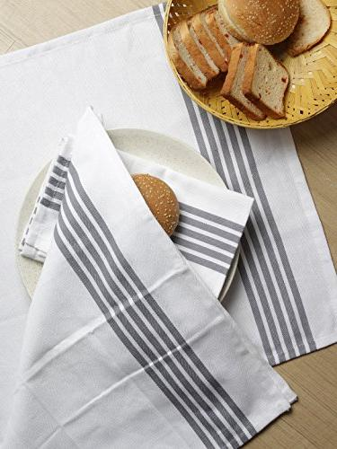 "The Weaver's of Stripe Absorbent, 28""x18"", Grey Stripe,Kitchen Cloths"
