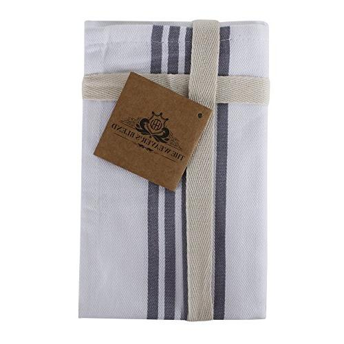 "The Blend of 6 Kitchen Stripe Design, Absorbent, Size 28""x18"", Grey Stripe,Kitchen Cloths"