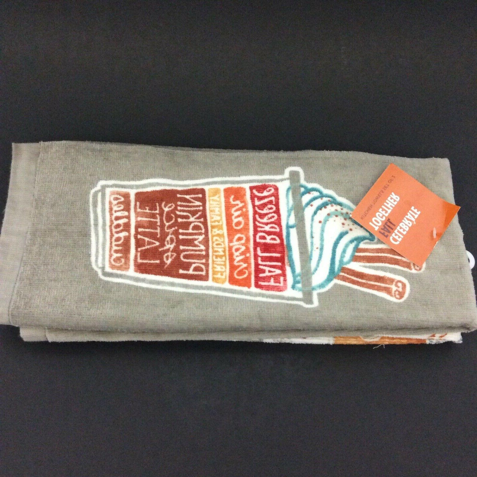 Kitchen Towels Together Gray White Orange Set Of 2