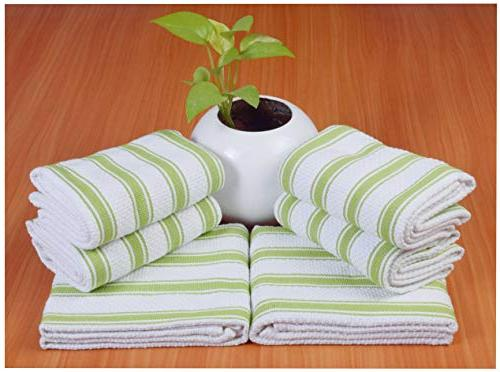 6 Pack Kitchen Towels, 16x26, Lime Green Stripe,