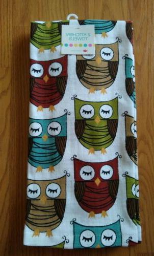 kitchen towels owls tea dish hand 2