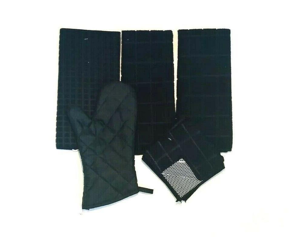 Kitchen Towels 6 Black Dishcloths Oven Mat