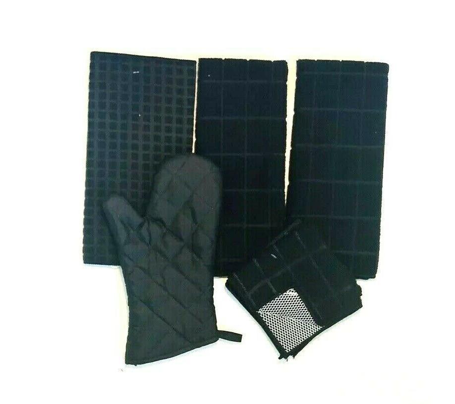kitchen towels set of 6 black windowpane