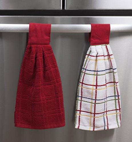 Ritz Kitchen Wears Cotton Checked Solid Hanging Tie Pack, 2 Piece