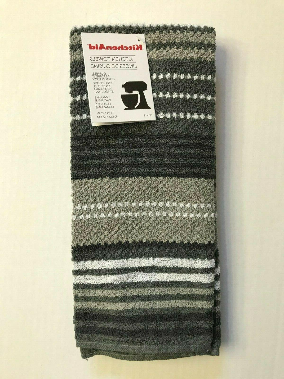 KitchenAid Kitchen Towels Gray Grey White Stripes 2