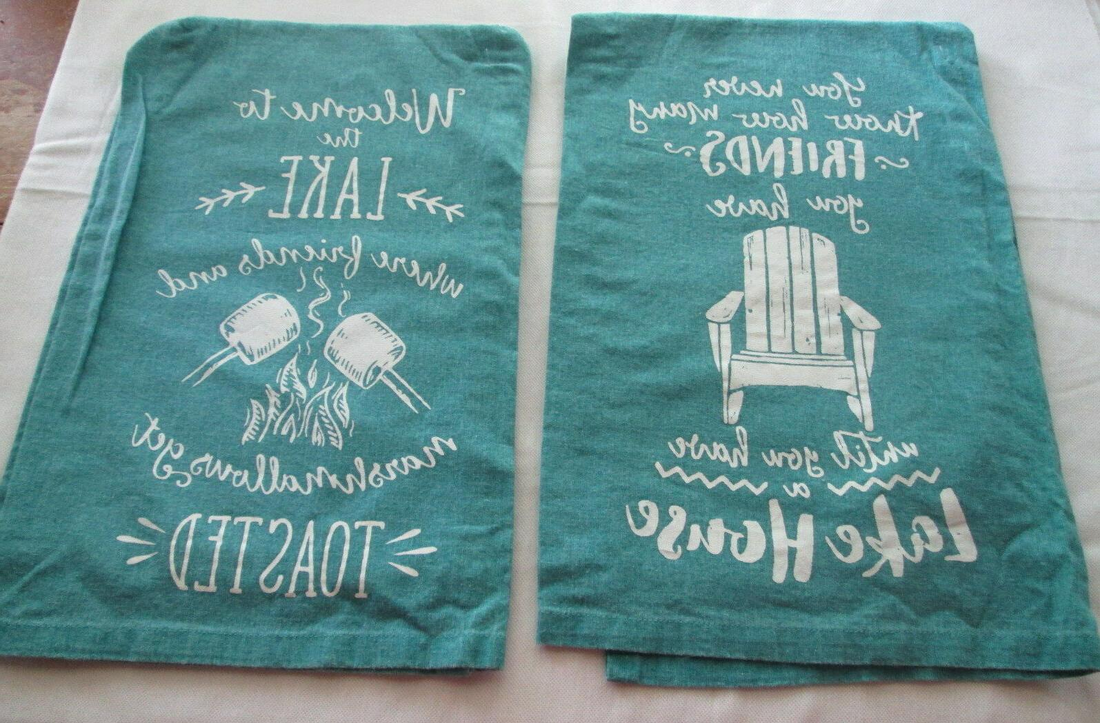 lake house friends kitchen towels set flour