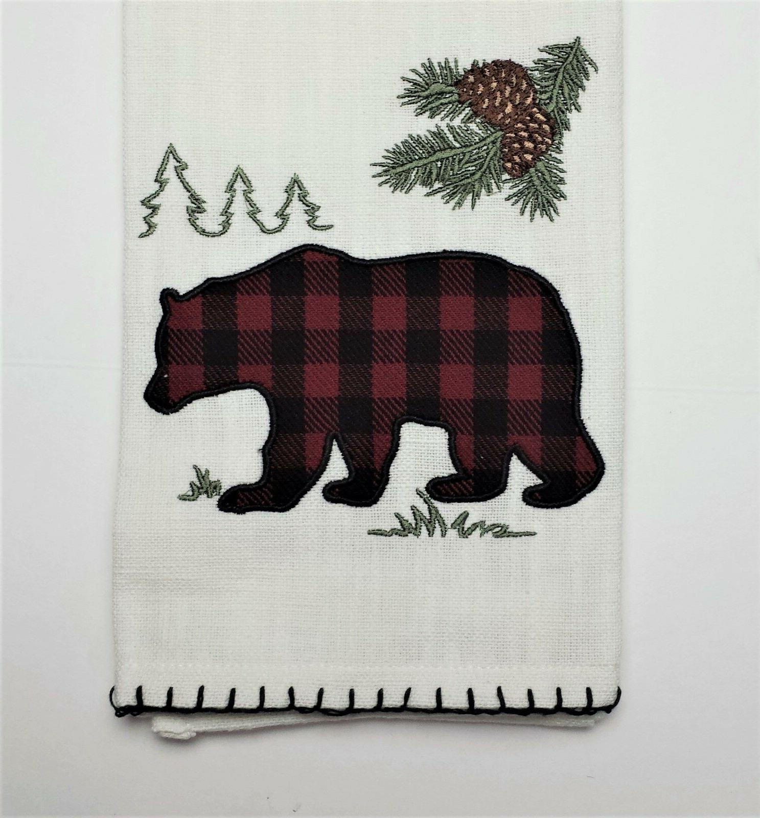 lodge cabin woodland bear printed cotton kitchen