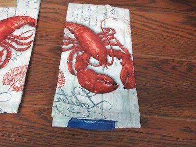 Lot of 3 DEE Kitchen Towels LOBSTER POSTCARD new!
