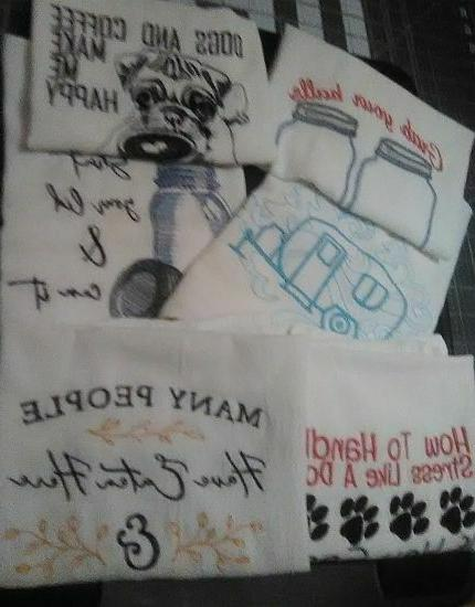 machine embroidered flour sack dish towels
