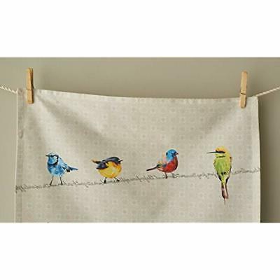 Maison D&39 Birdies On Wire 100% Cotton Set Of Towels,