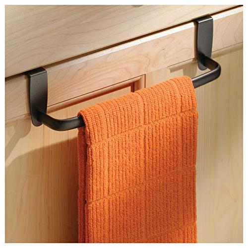 mDesign Kitchen Metal Towel Hang on Inside or Outside Hand, Towels - 4 Pack - Bronze