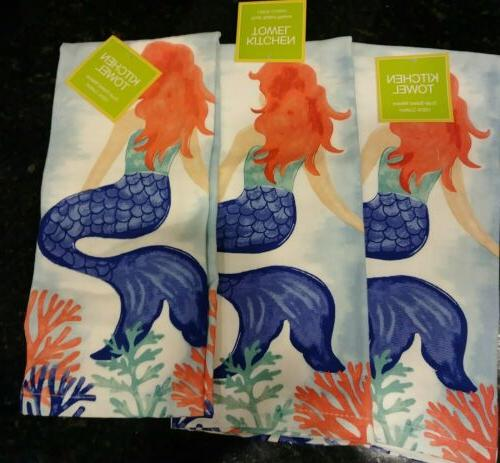 mermaid watercolor kitchen towels set of 3