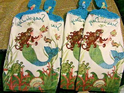 MERMAIDS~2 top bath hand towels BLUE buttons