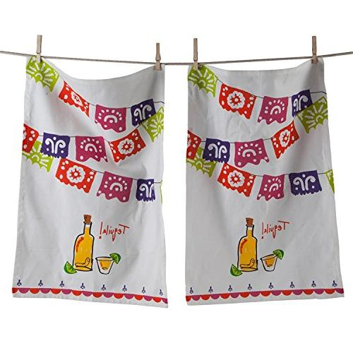 mexican fiesta kitchen towel tequila party bar set