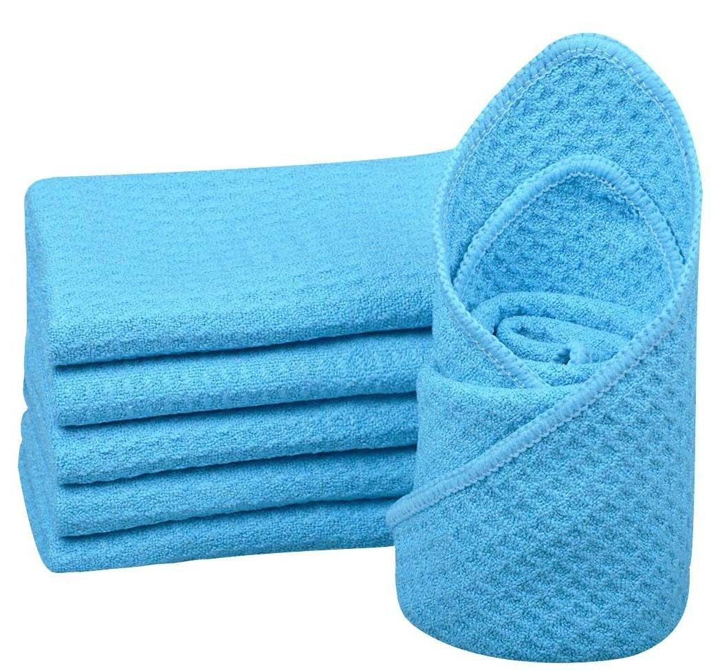 Blue Waffle Weave Thirsty Microfiber Deluxe Drying Towel Auto Home Kitchen