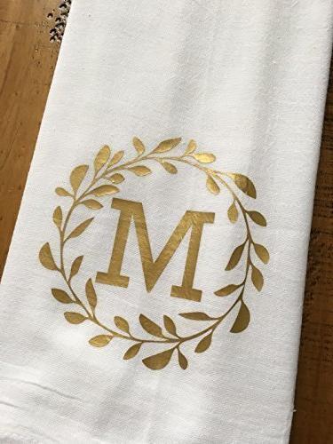 Monogrammed Kitchen Towel Personalized Laurel Monogram Wedding