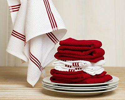 New Toffee Terry Kitchen Towel, Red, 4 Pack, in
