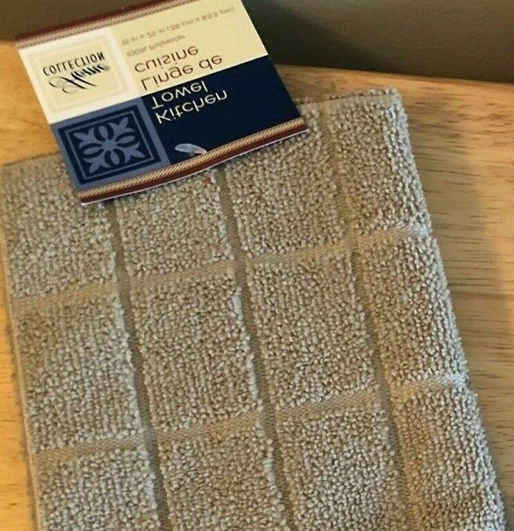 Kitchen Towels Taupe Lot Windowpane New With Tags