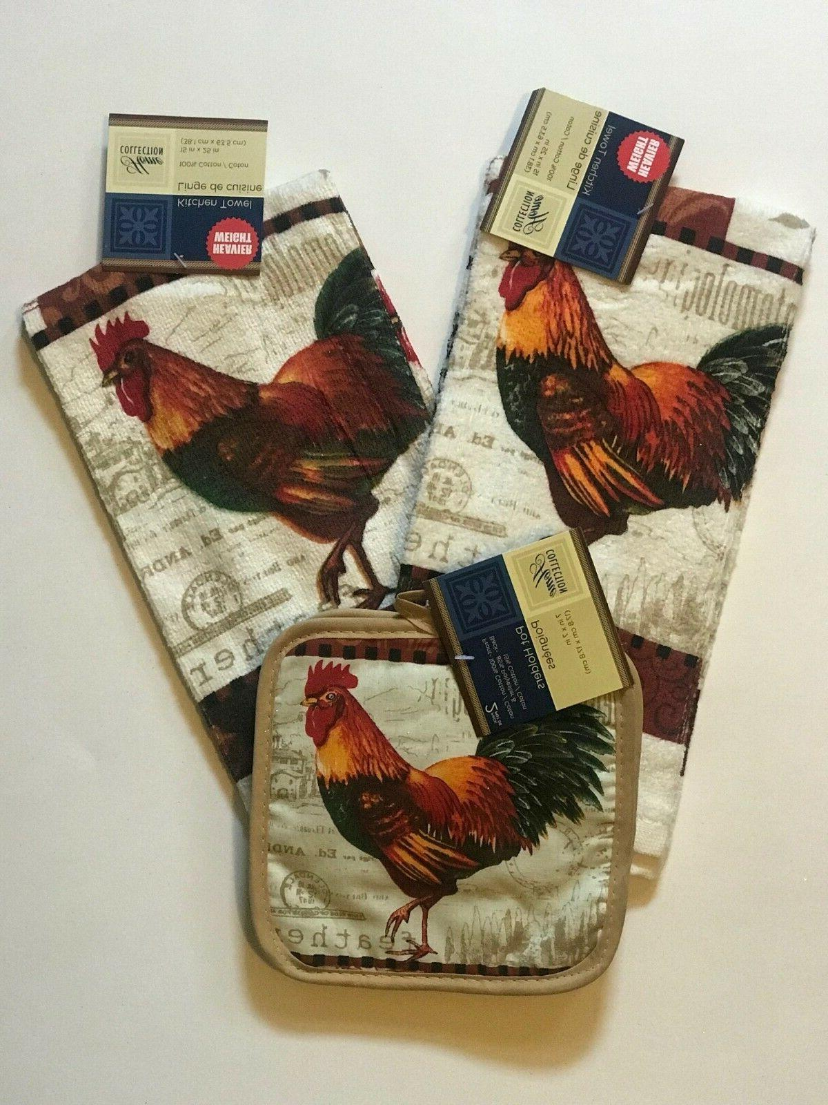 New Rooster print Kitchen Towels and Oven Mitts absorbent Fr