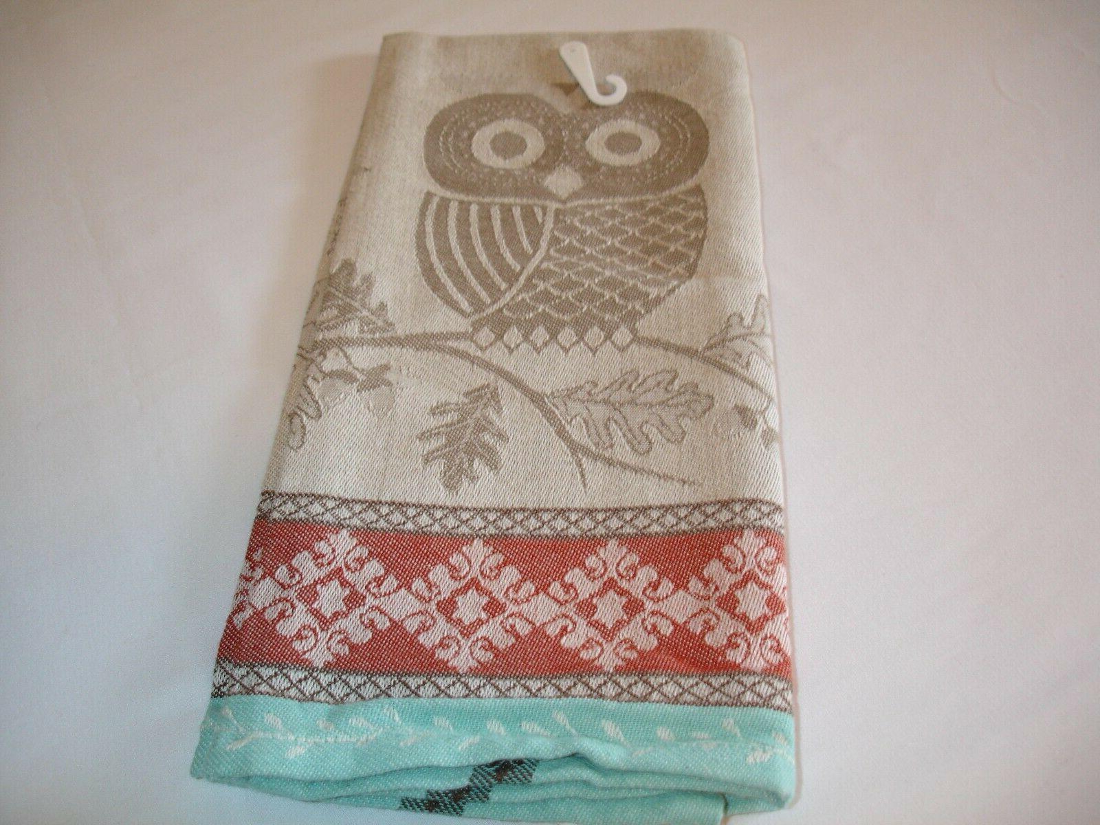 new! wildlife oak owl jacquard dish towel te
