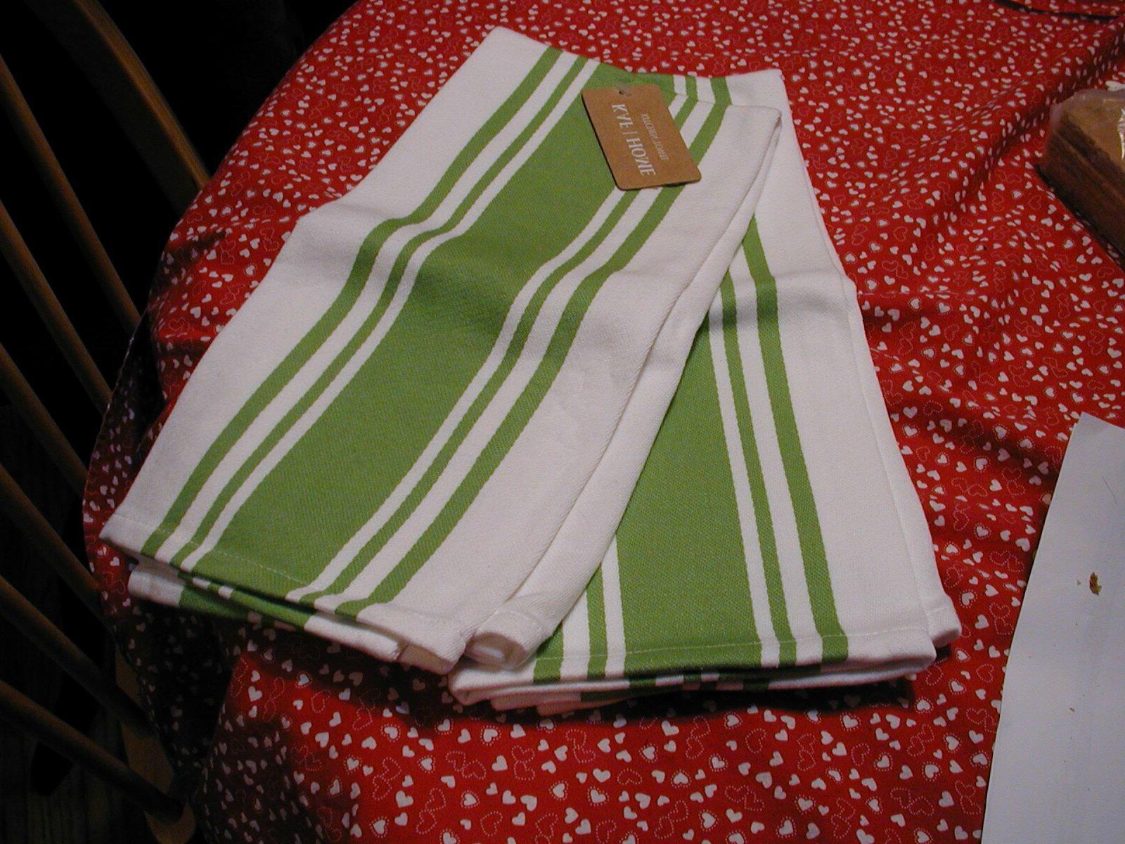 NWT KAF HOME KITCHEN TOWEL SET BASKET GREEN