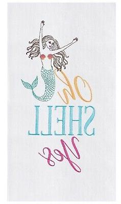 Oh Shell Yes Mermaid Embroidered Flour Sack Kitchen Dish Tow