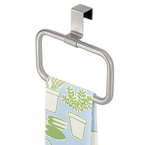 mDesign Modern Kitchen Over Cabinet Square Towel Holder