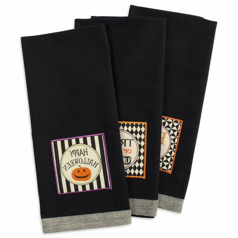 "Oversized Halloween Dish Towels Kitchen Set Of 3 Gift 18x28"""
