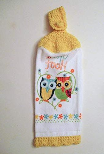 owl crochet hanging kitchen towel