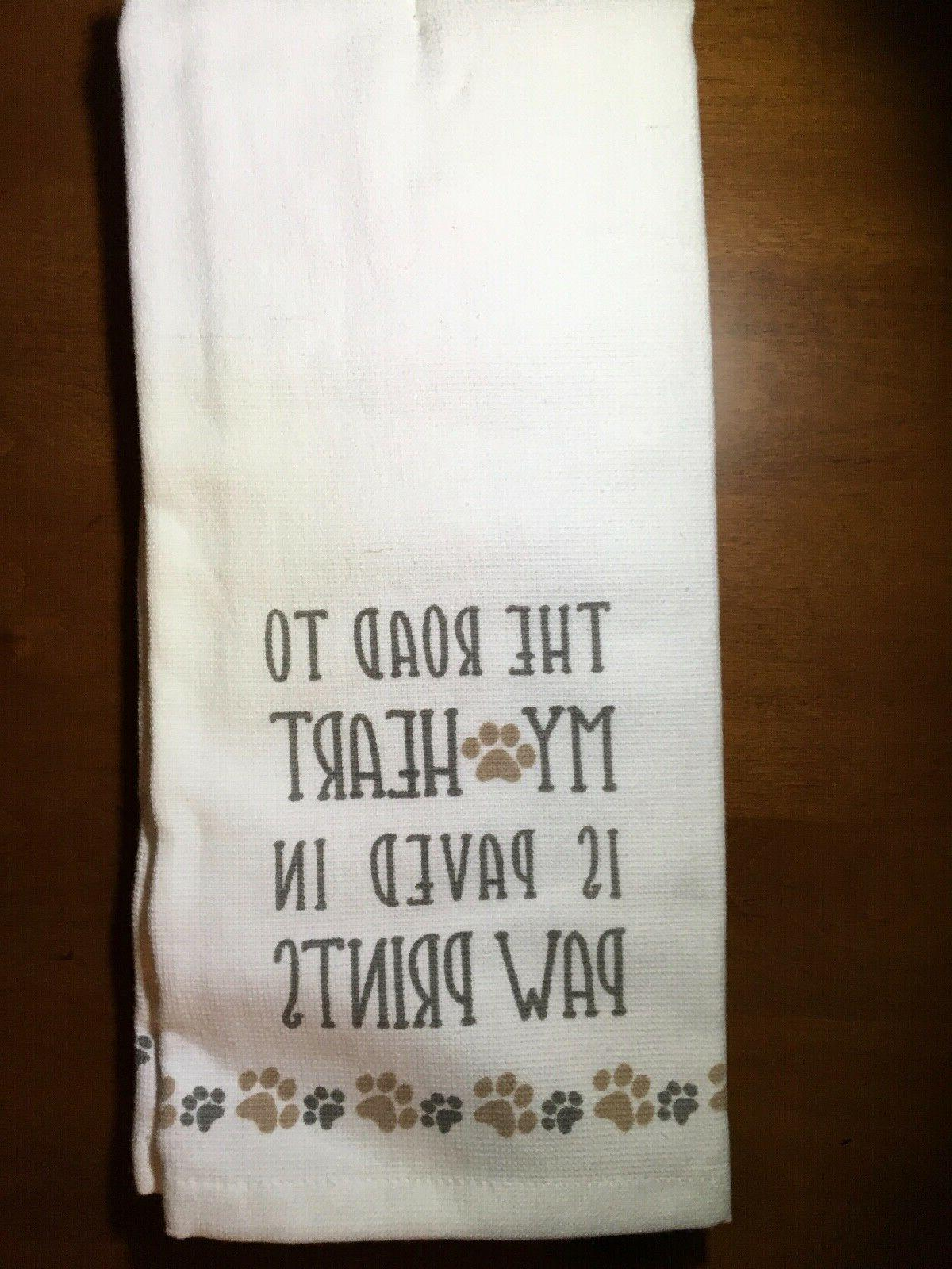 Paw Towels White Tan Cat Lover