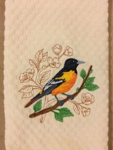 Pick Color Embroidered Cardinal Oriole Kitchen Dish