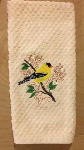 Pick Color Embroidered Cardinal Oriole Kitchen Towels