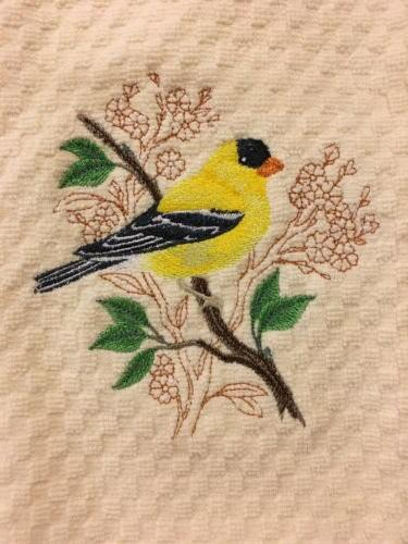 Birds Embroidered Terry