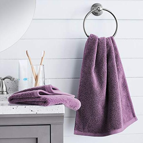 AmazonBasics Quick-Dry Hand Towels - 100% Lavender