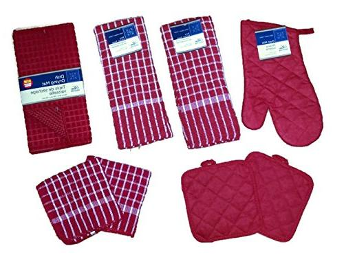 red kitchen oven mitts pot