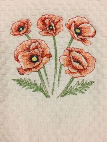 Red Embroidered Kitchen Towel