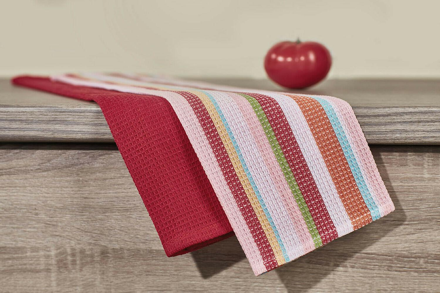 red waffle kitchen towels set of 2