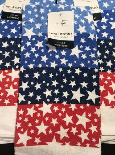 Red White Blue Kitchen Towels July Stars - of 3 New