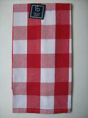 Red and White Large  Check Cotton Dish Towels Set of 2
