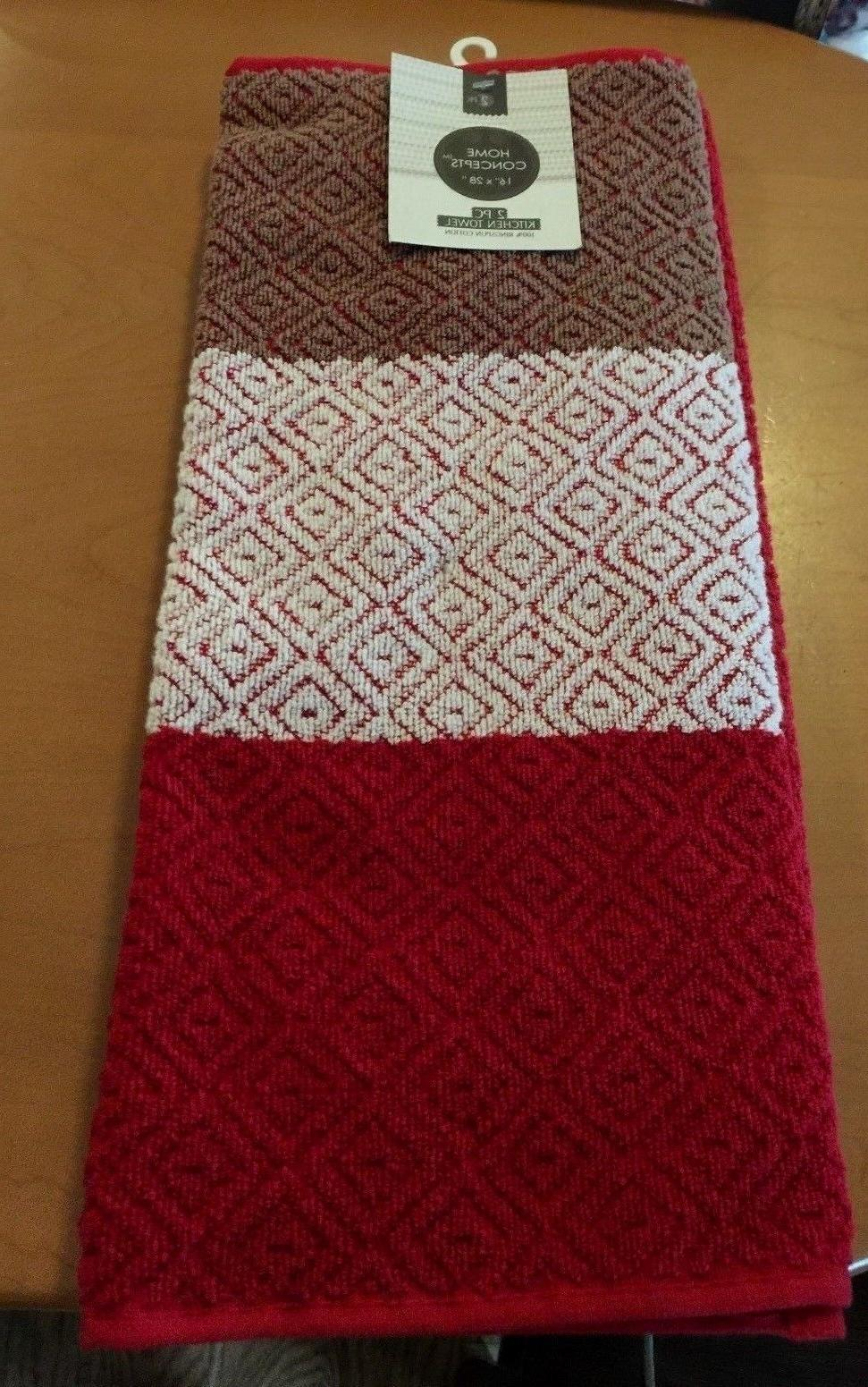 Home Red Kitchen Towels 2pk