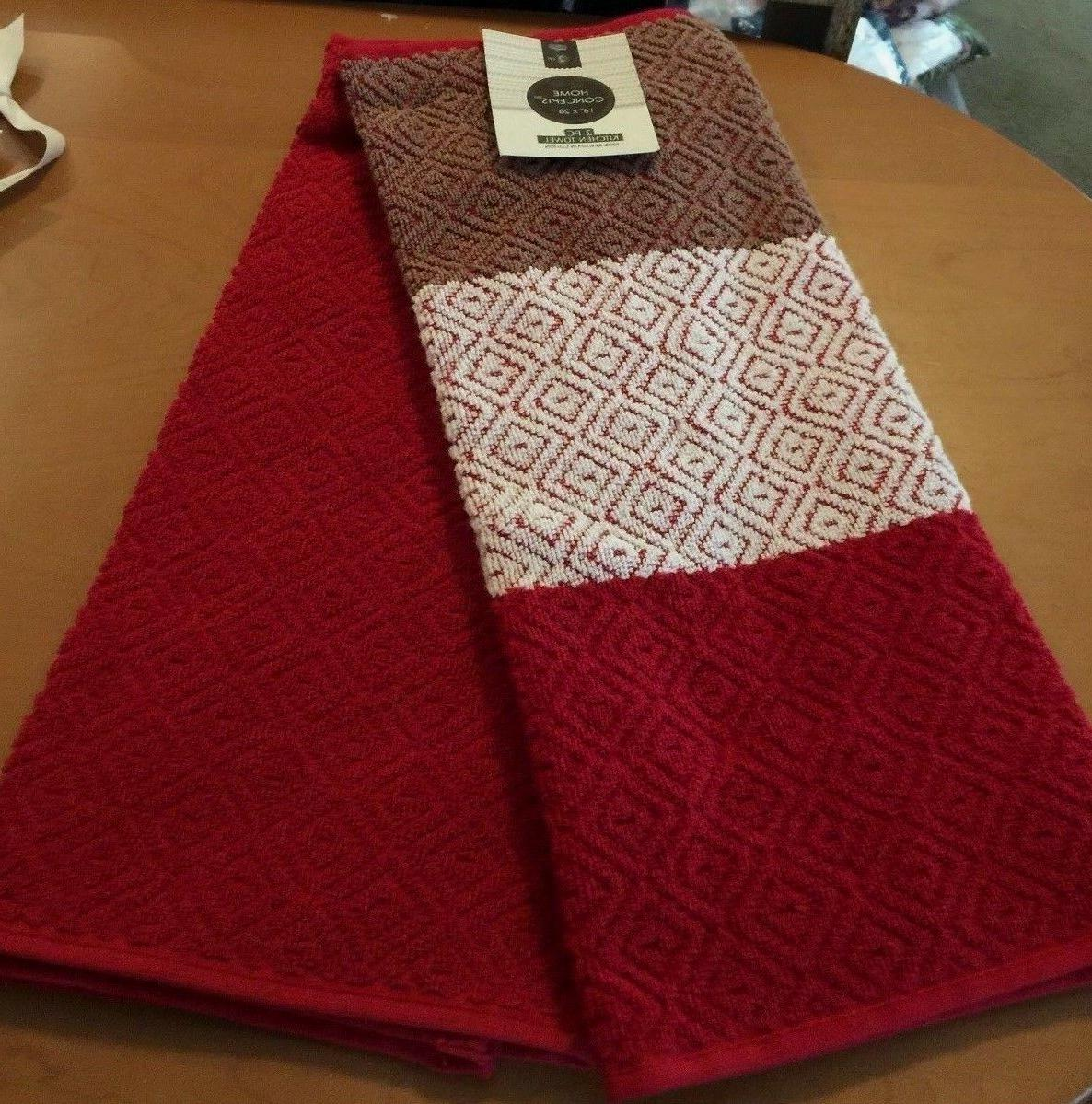 ringspun cotton red kitchen towels 2pk