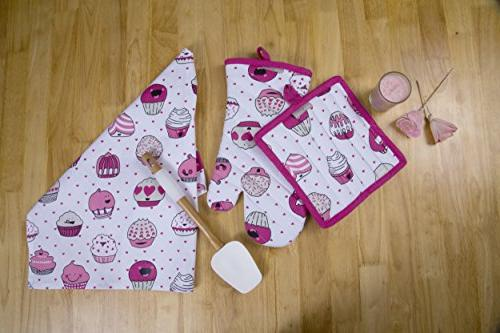 CASA Apron,Oven Mitt,Pot Holder, Pair of Towels in a Design, Made 100% Cotton, Value Gift Set